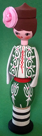 Pizho with Rose Oil Vial, Bulgarian wooden doll