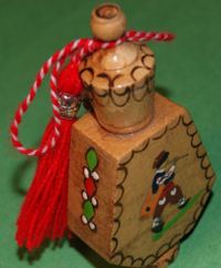 ROSE OIL or PINE OIL Vial with Traditional Martenitsa - Peasant Boy