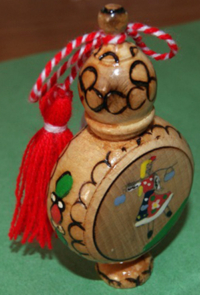 Roseoil or Pine Oil Vial with Traditional Martenitsa - Round