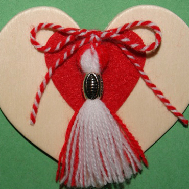Heart Magnet with Bead Martenitsa