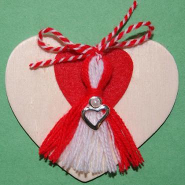 Heart Magnet with Heart Martenitsa