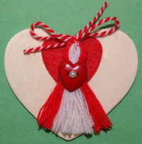 Heart Magnet with Red Heart Martenitsa