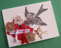 Happy Baba Marta card with sparrows