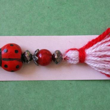 bracelet martenitsa with ladybug and ruby red bead
