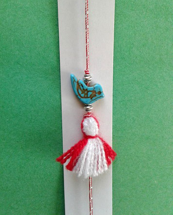 martenitsa bracelet with bird charm