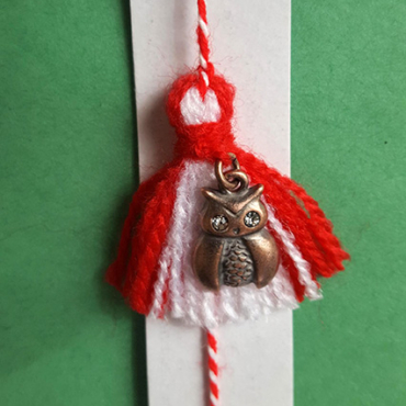 martenitsa bracelet owl with glass eyes