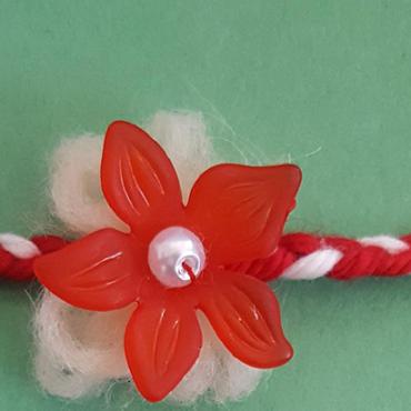 martenitsa bracelet with red flower 2020
